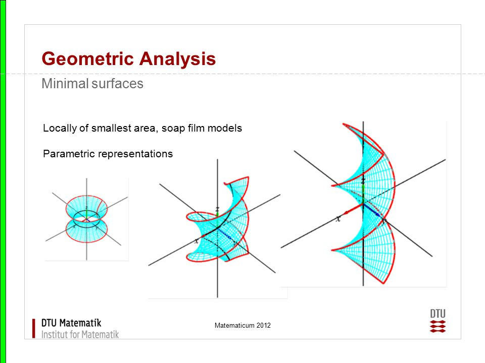 Geometric Analysis Minimal surfaces