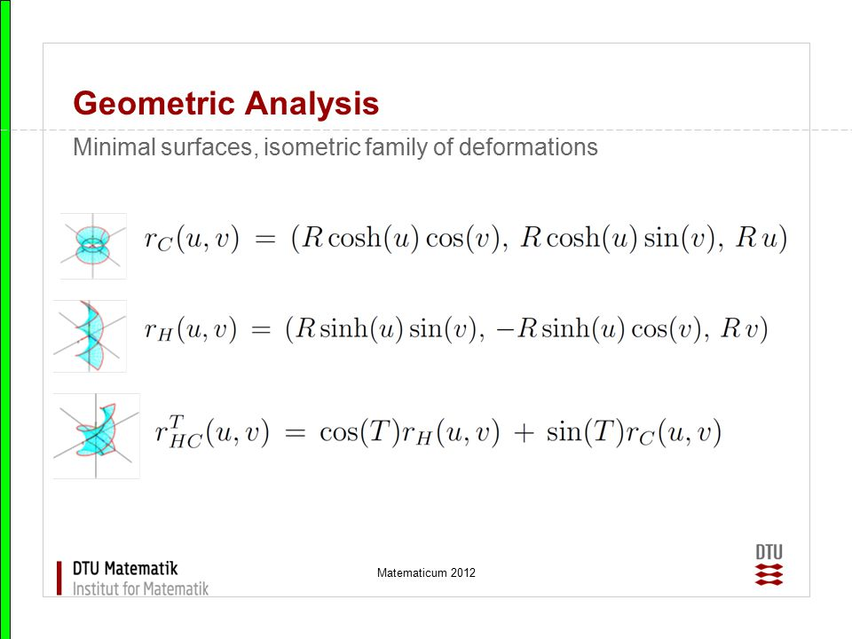 Geometric Analysis Minimal surfaces, isometric family of deformations