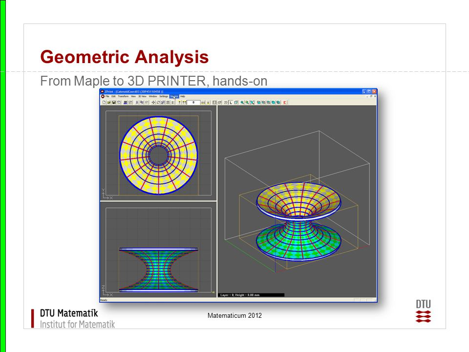 Geometric Analysis From Maple to 3D PRINTER, hands-on Matematicum 2012