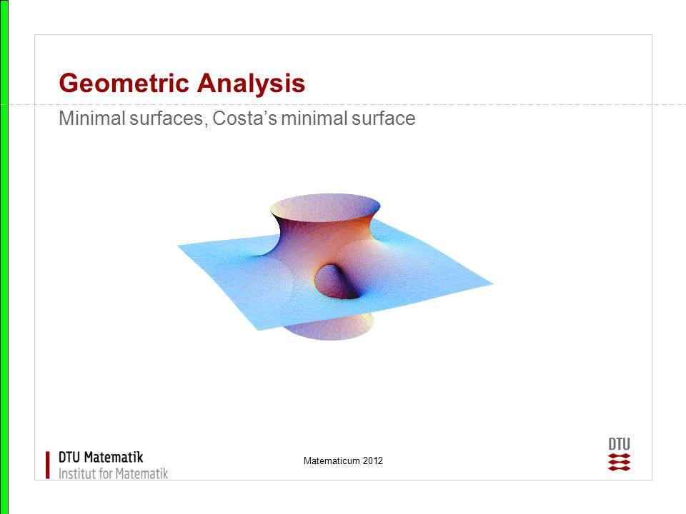 Geometric Analysis Minimal surfaces, Costa's minimal surface