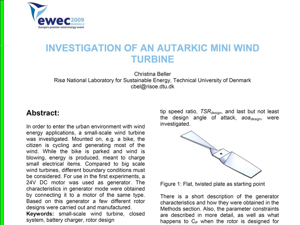 Geometric Analysis Autarkic mini wind turbines Matematicum 2012