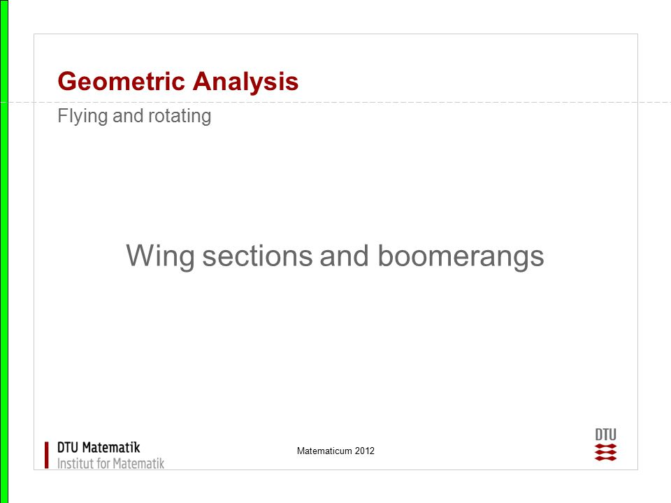 Wing sections and boomerangs