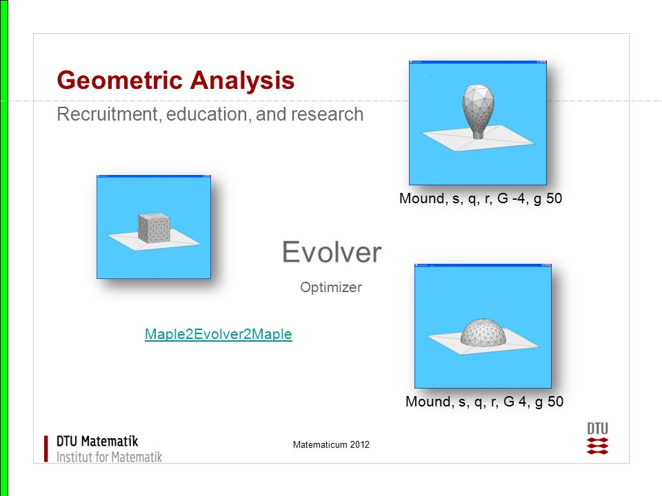 Evolver Geometric Analysis Recruitment, education, and research