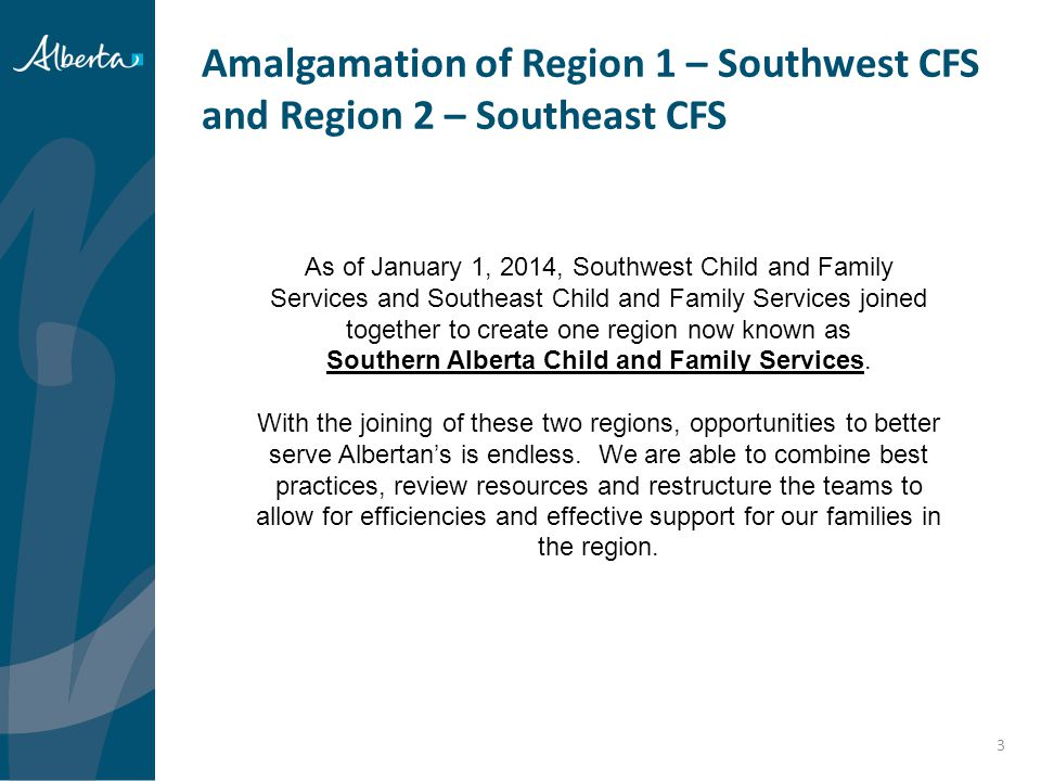 Amalgamation of Region 1 – Southwest CFS and Region 2 – Southeast CFS