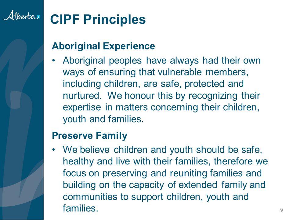 CIPF Principles Aboriginal Experience