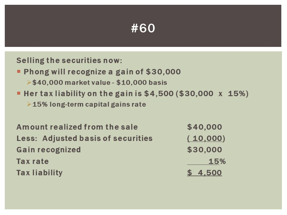 #60 Selling the securities now: Phong will recognize a gain of $30,000