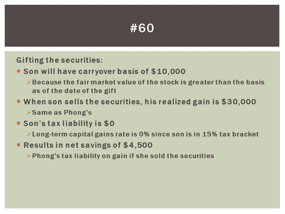 #60 Gifting the securities: Son will have carryover basis of $10,000