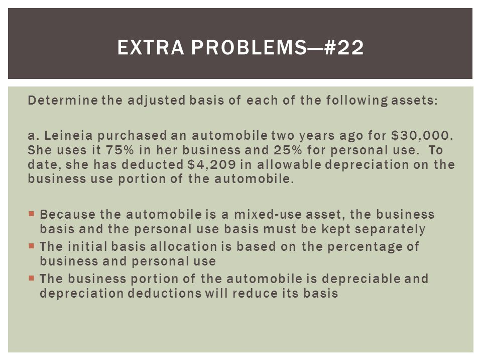 Extra problems—#22 Determine the adjusted basis of each of the following assets: