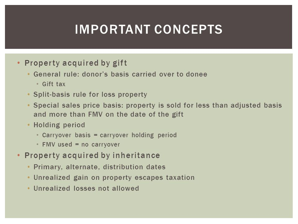 Important concepts Property acquired by gift