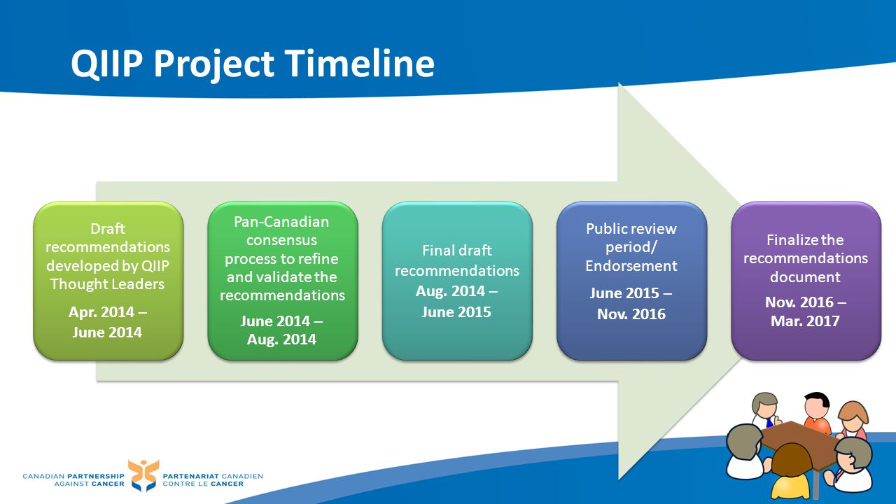 QIIP Project Timeline Draft recommendations developed by QIIP Thought Leaders. Apr. 2014 – June 2014.