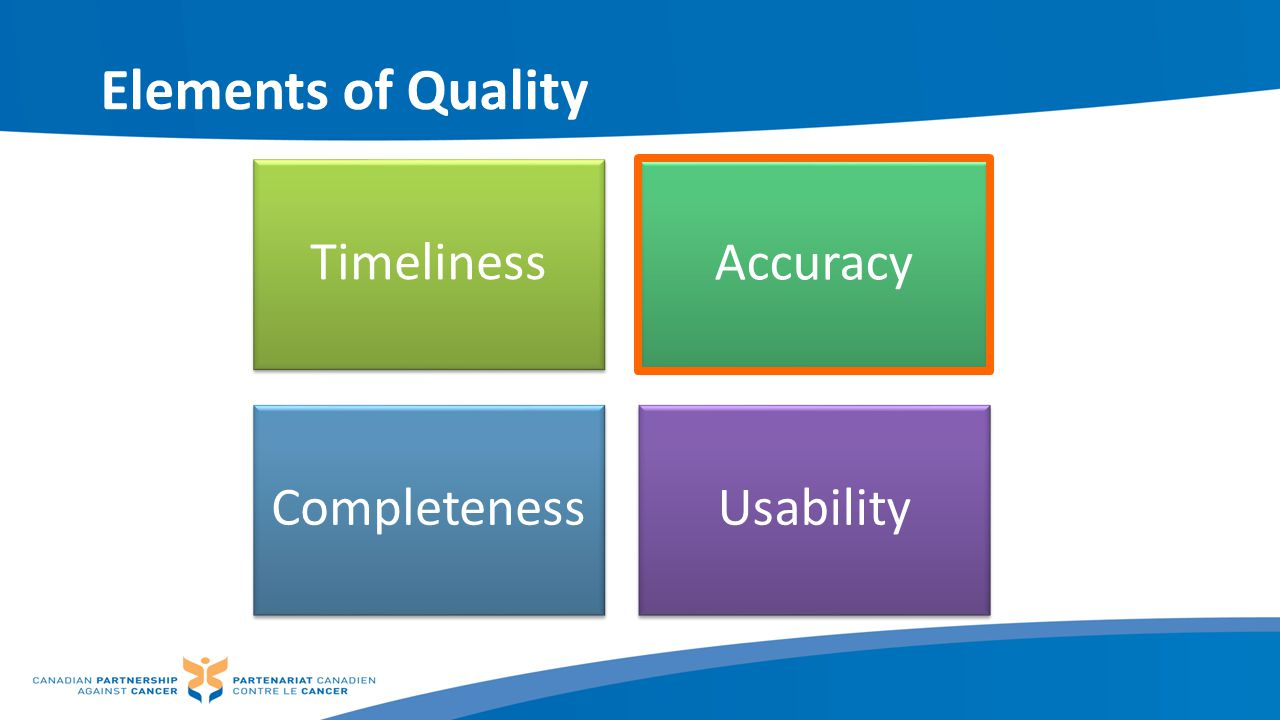 Elements of Quality Timeliness Accuracy Completeness Usability