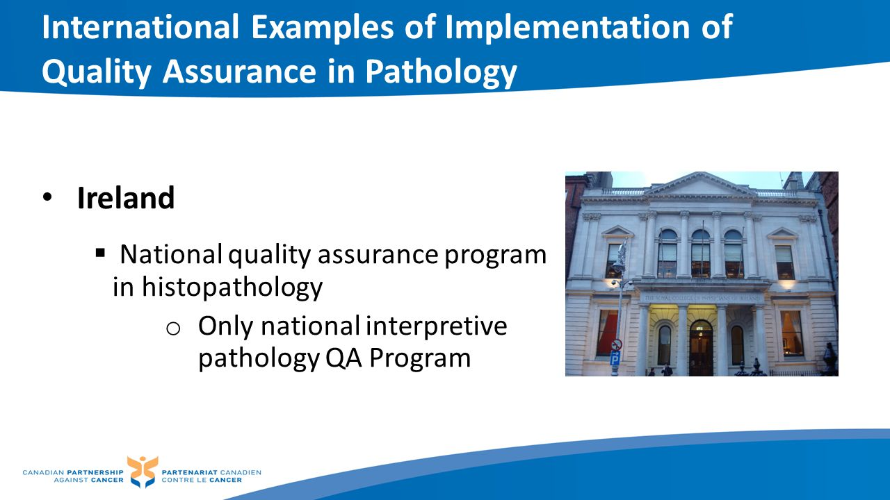 International Examples of Implementation of Quality Assurance in Pathology