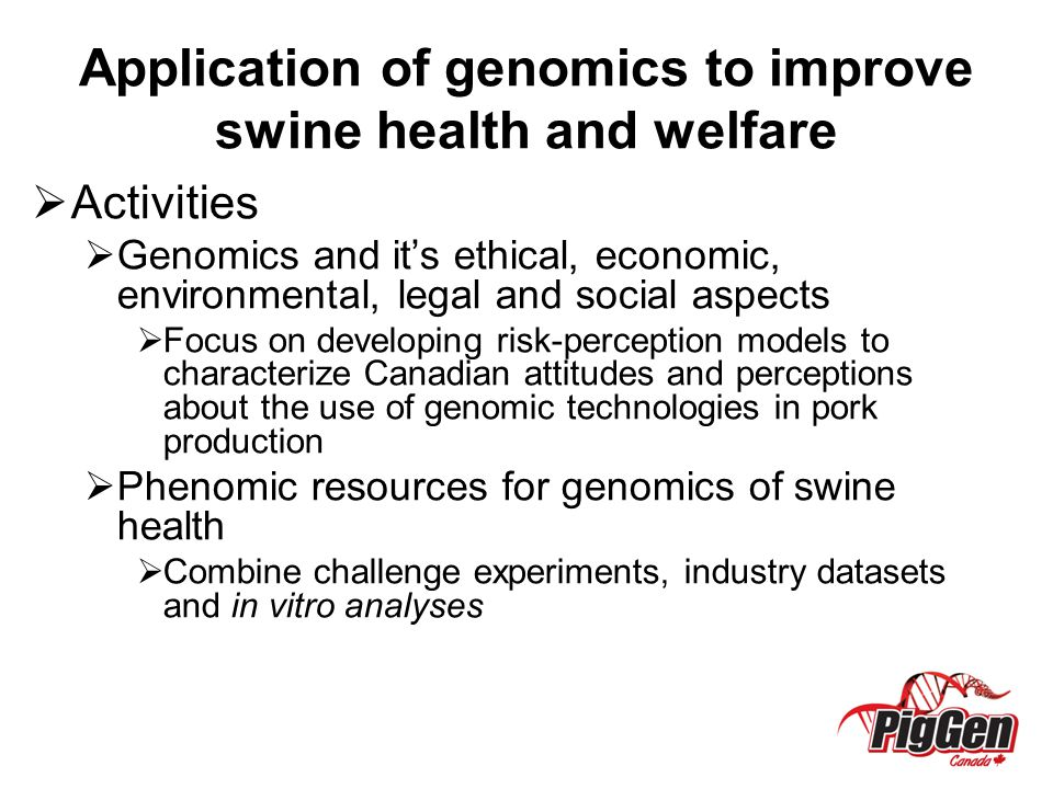Application of genomics to improve swine health and welfare
