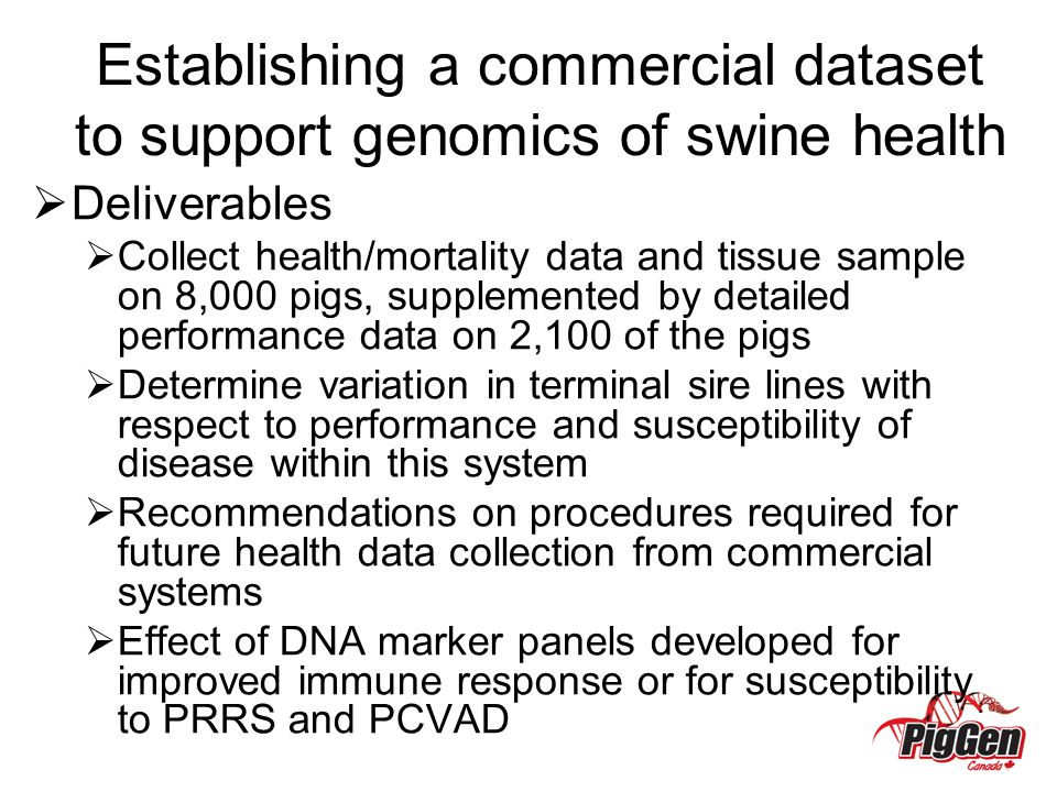 Establishing a commercial dataset to support genomics of swine health