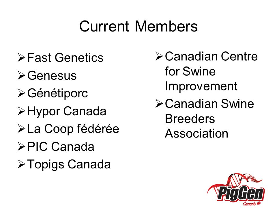 Current Members Canadian Centre for Swine Improvement Fast Genetics