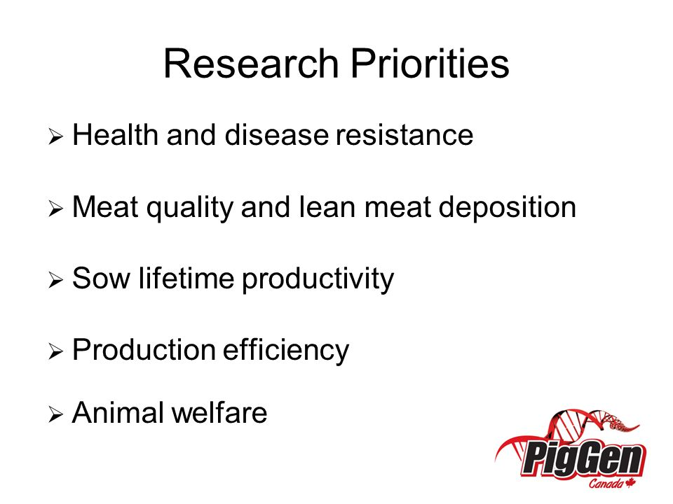 Research Priorities Health and disease resistance