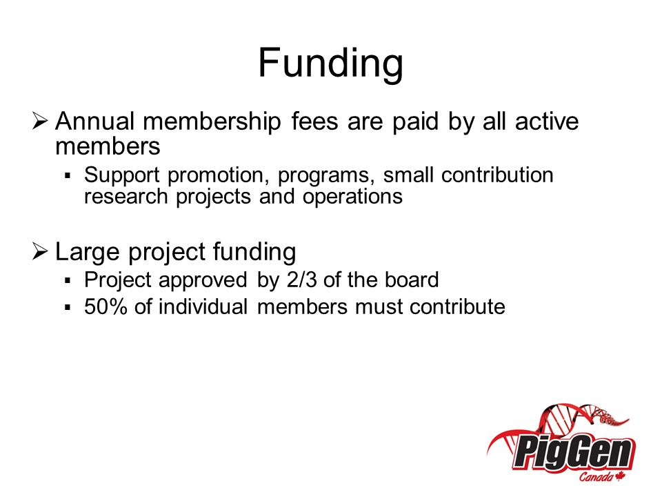 Funding Annual membership fees are paid by all active members