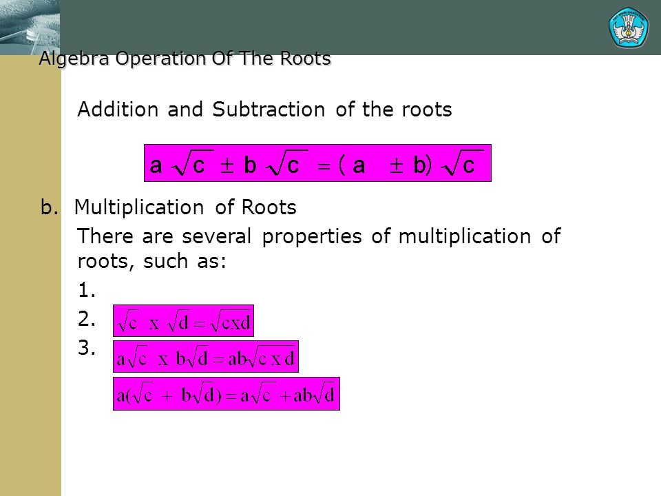 Addition and Subtraction of the roots