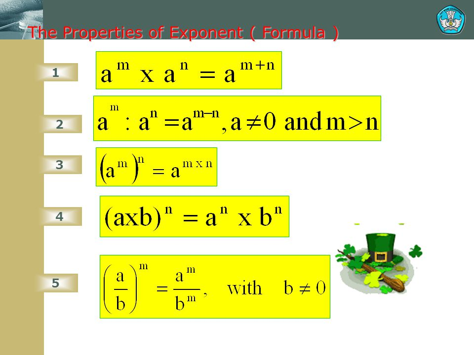 The Properties of Exponent ( Formula )