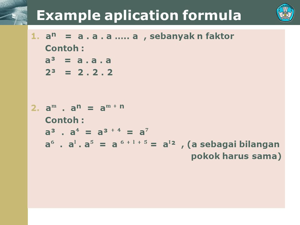 Example aplication formula