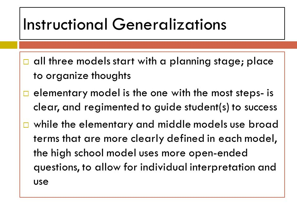 Instructional Generalizations