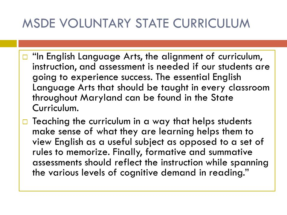 MSDE VOLUNTARY STATE CURRICULUM
