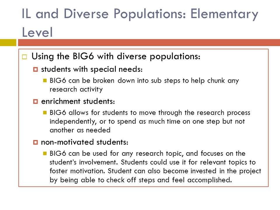IL and Diverse Populations: Elementary Level