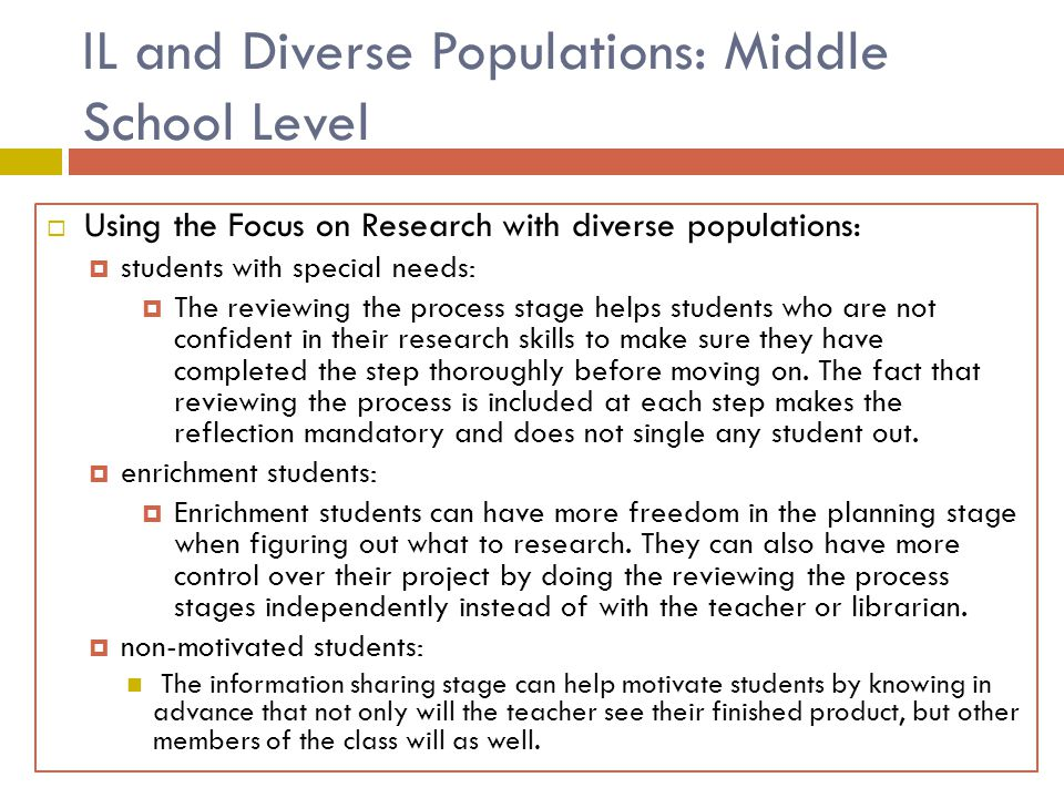 IL and Diverse Populations: Middle School Level