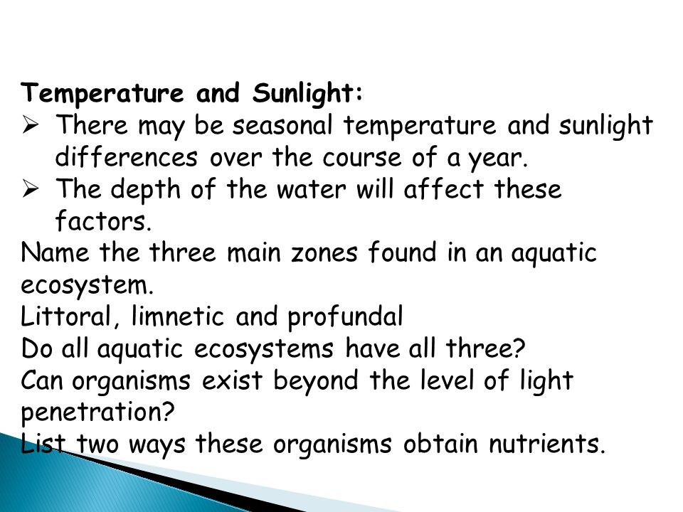 Temperature and Sunlight: