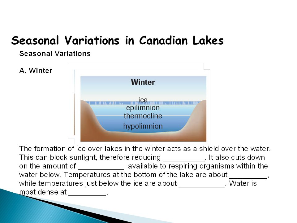 Seasonal Variations in Canadian Lakes