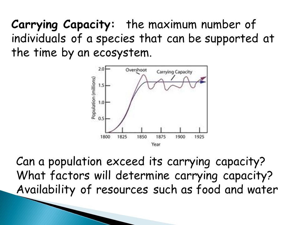 Carrying Capacity: the maximum number of individuals of a species that can be supported at the time by an ecosystem.