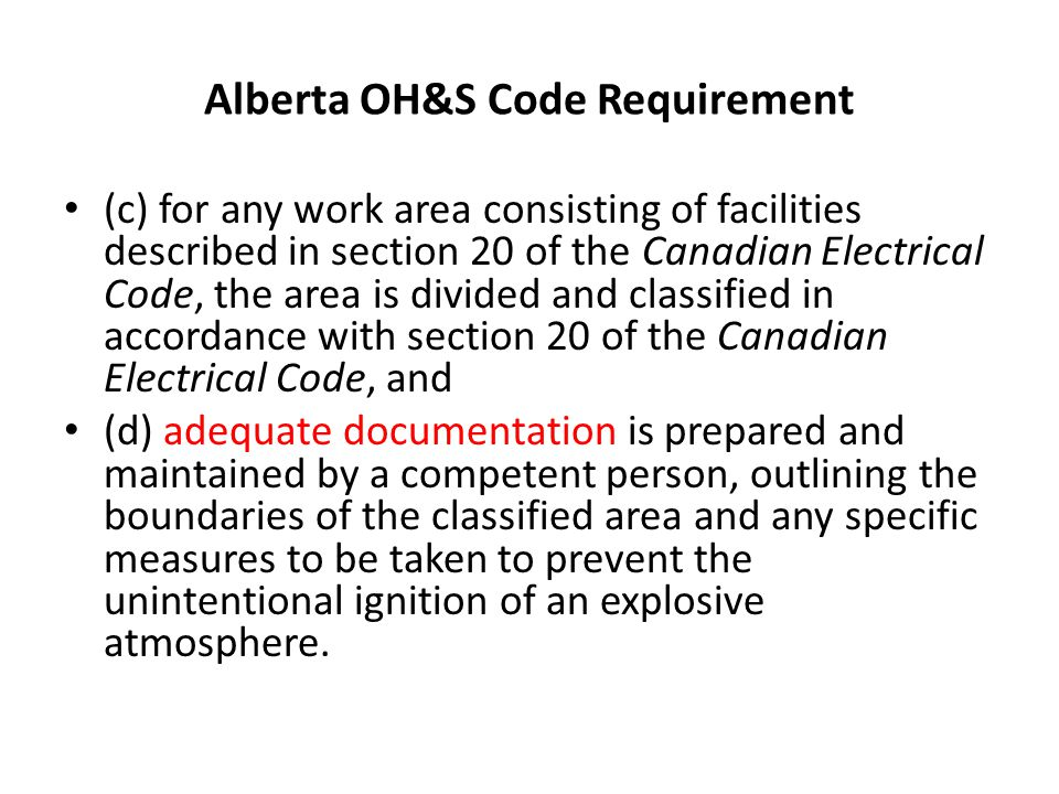Alberta OH&S Code Requirement