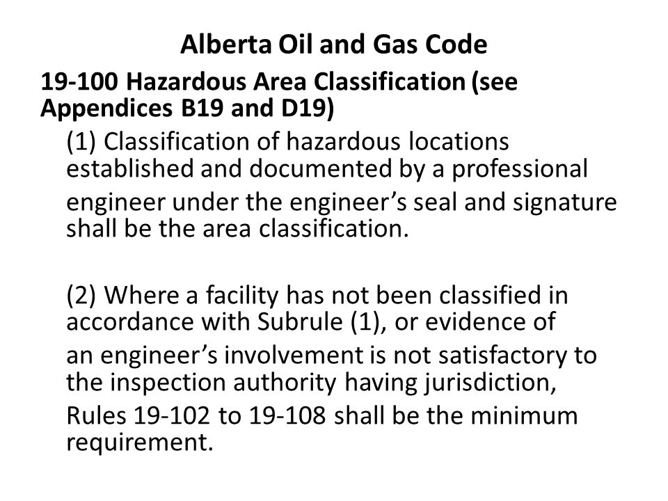 Alberta Oil and Gas Code