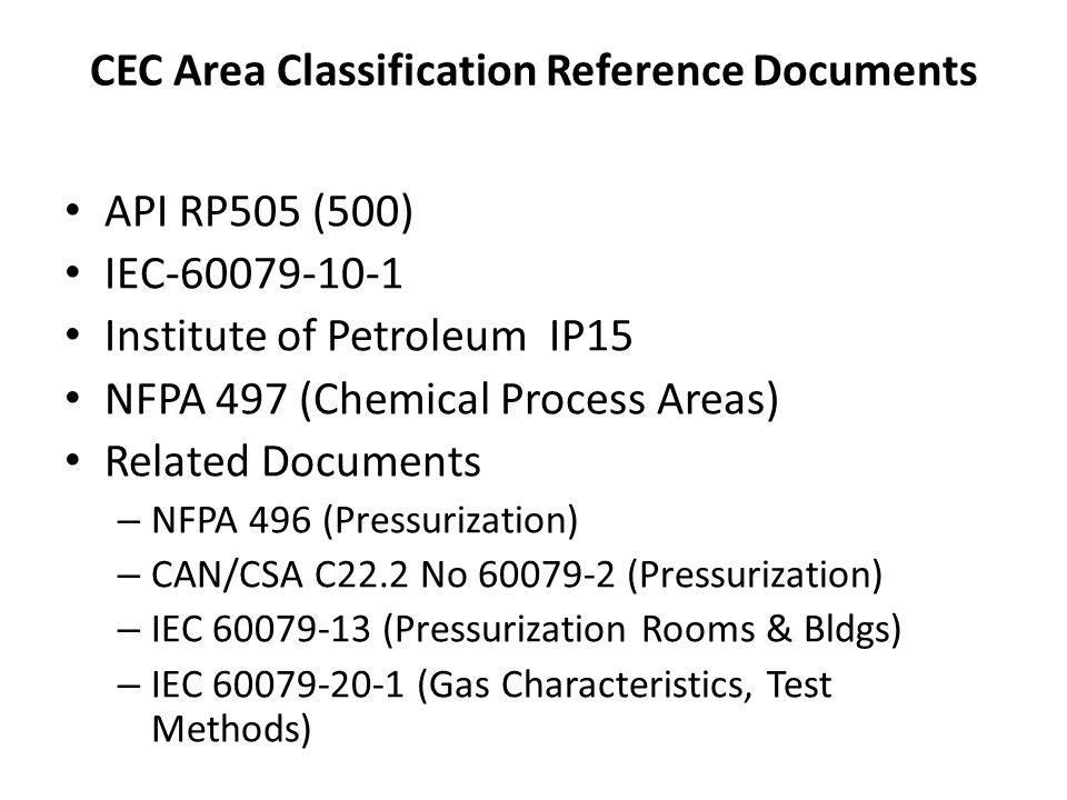 CEC Area Classification Reference Documents