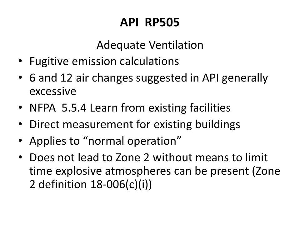 API RP505 Adequate Ventilation Fugitive emission calculations