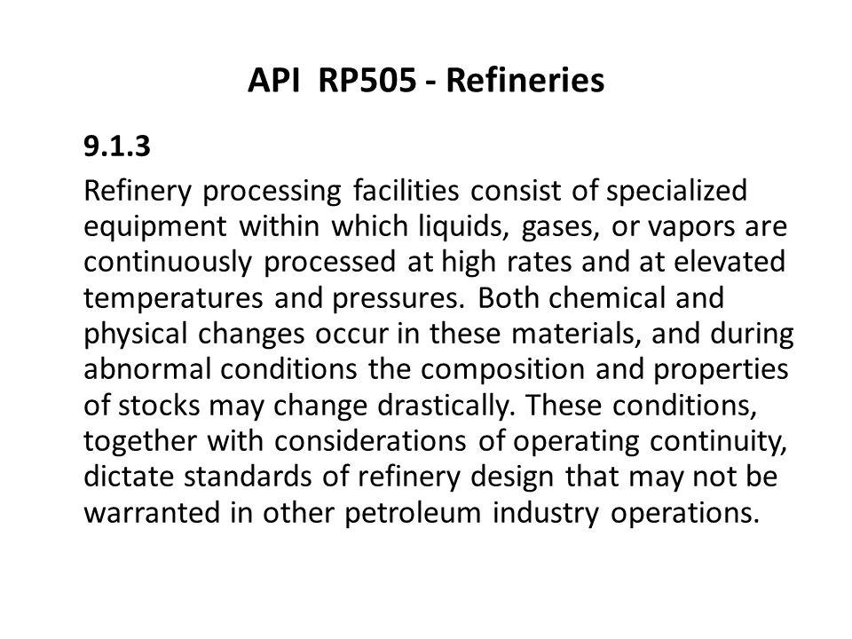 API RP505 - Refineries