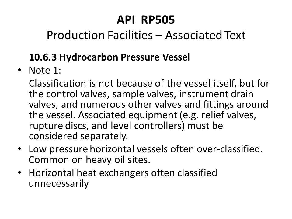 API RP505 Production Facilities – Associated Text