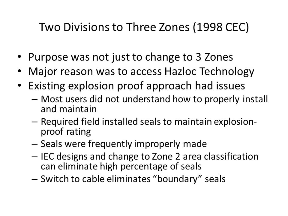 Two Divisions to Three Zones (1998 CEC)