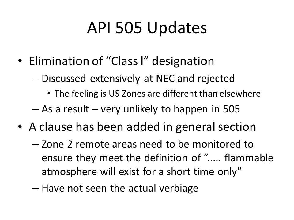 API 505 Updates Elimination of Class l designation