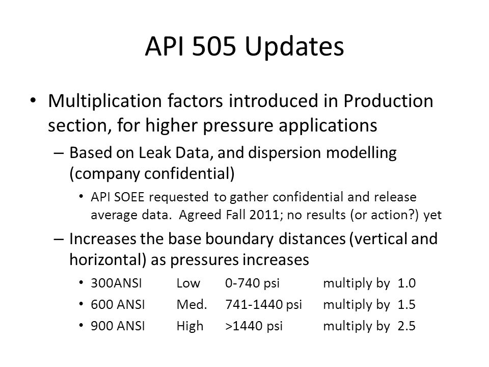 API 505 Updates Multiplication factors introduced in Production section, for higher pressure applications.