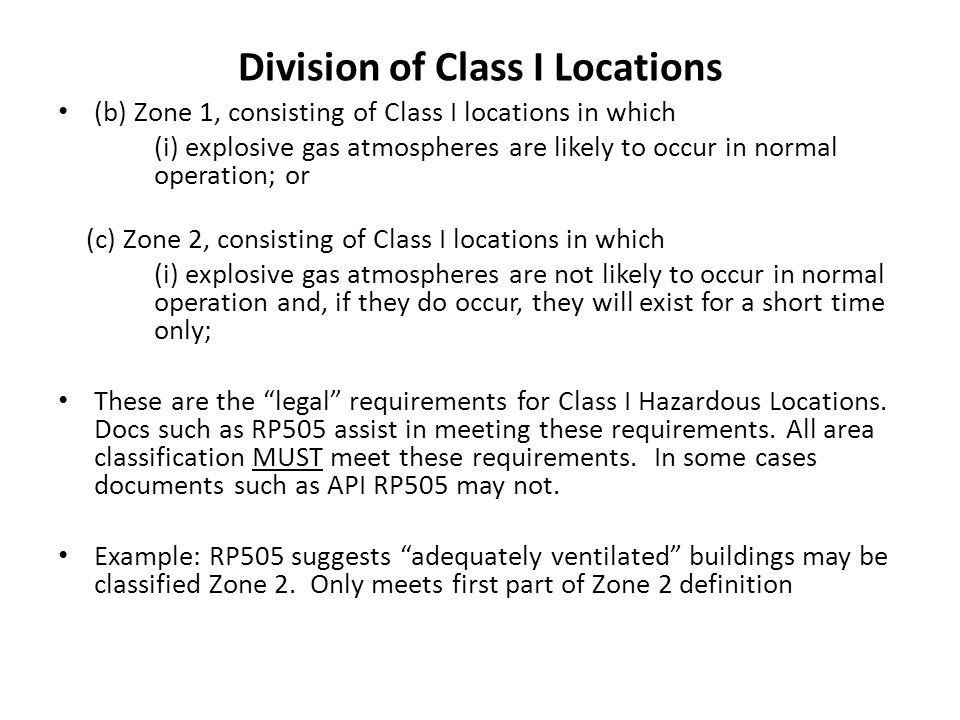 Division of Class I Locations