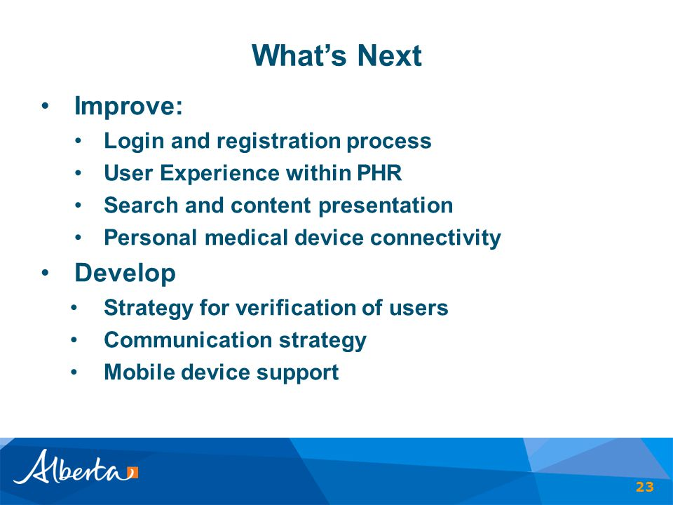 What's Next Improve: Develop Login and registration process