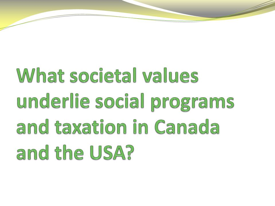 What societal values underlie social programs and taxation in Canada and the USA