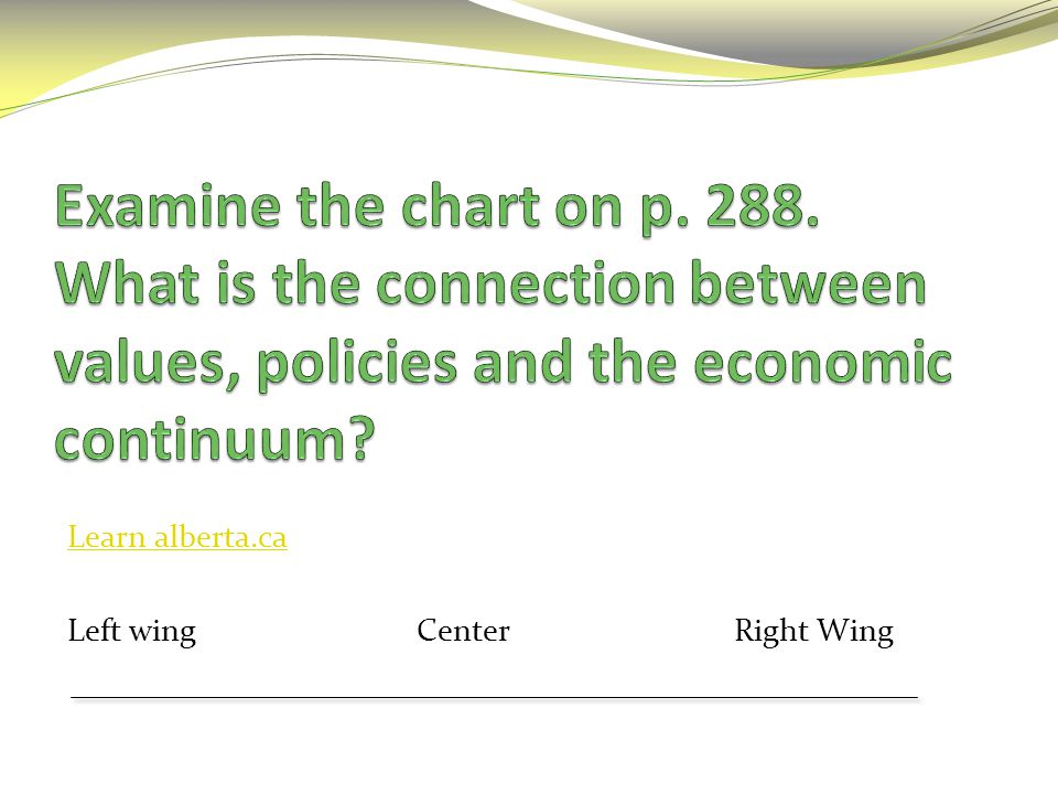 Examine the chart on p. 288. What is the connection between values, policies and the economic continuum