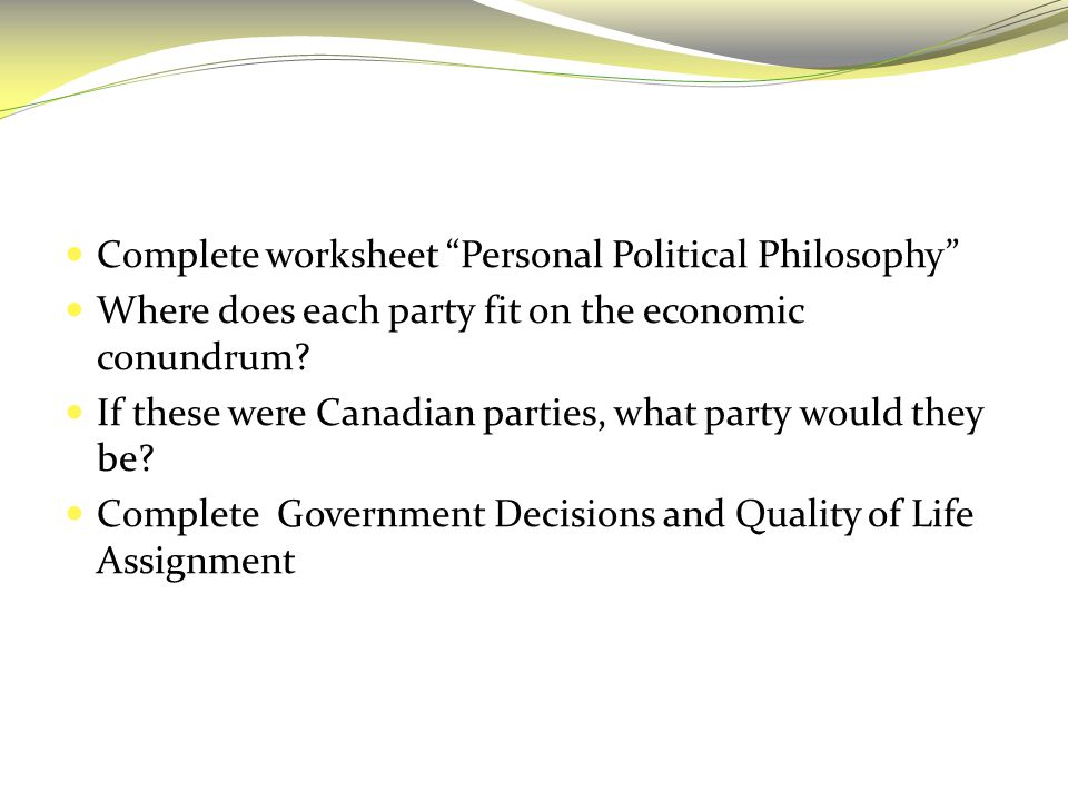 Complete worksheet Personal Political Philosophy