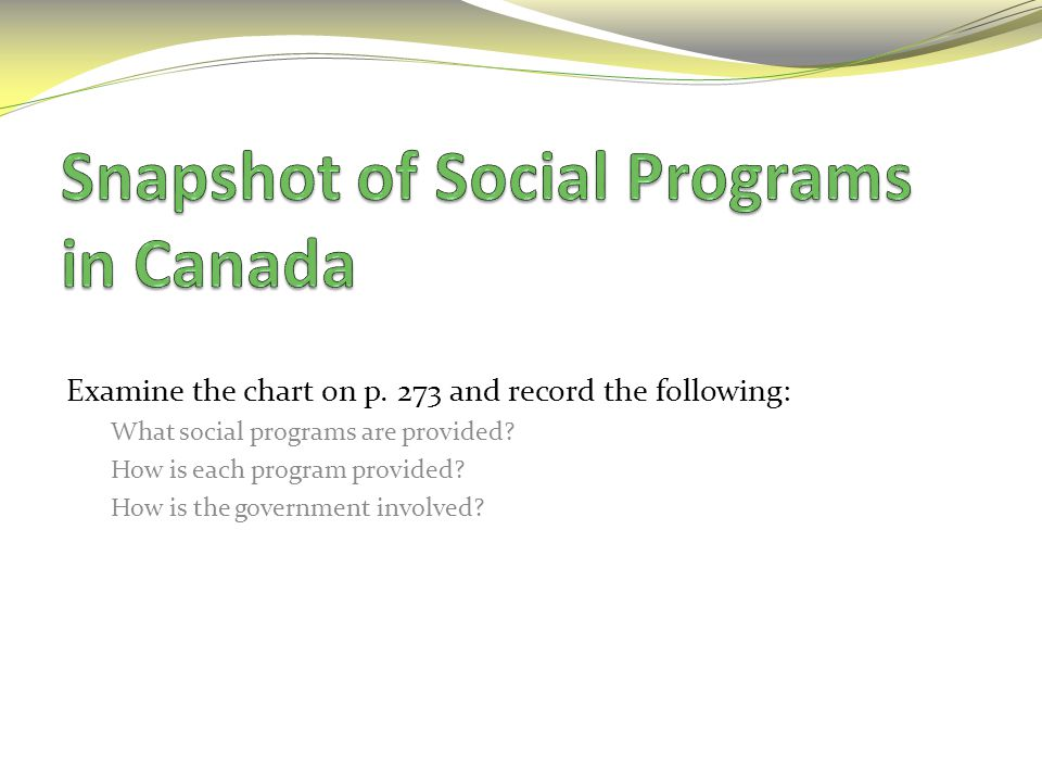 Snapshot of Social Programs in Canada