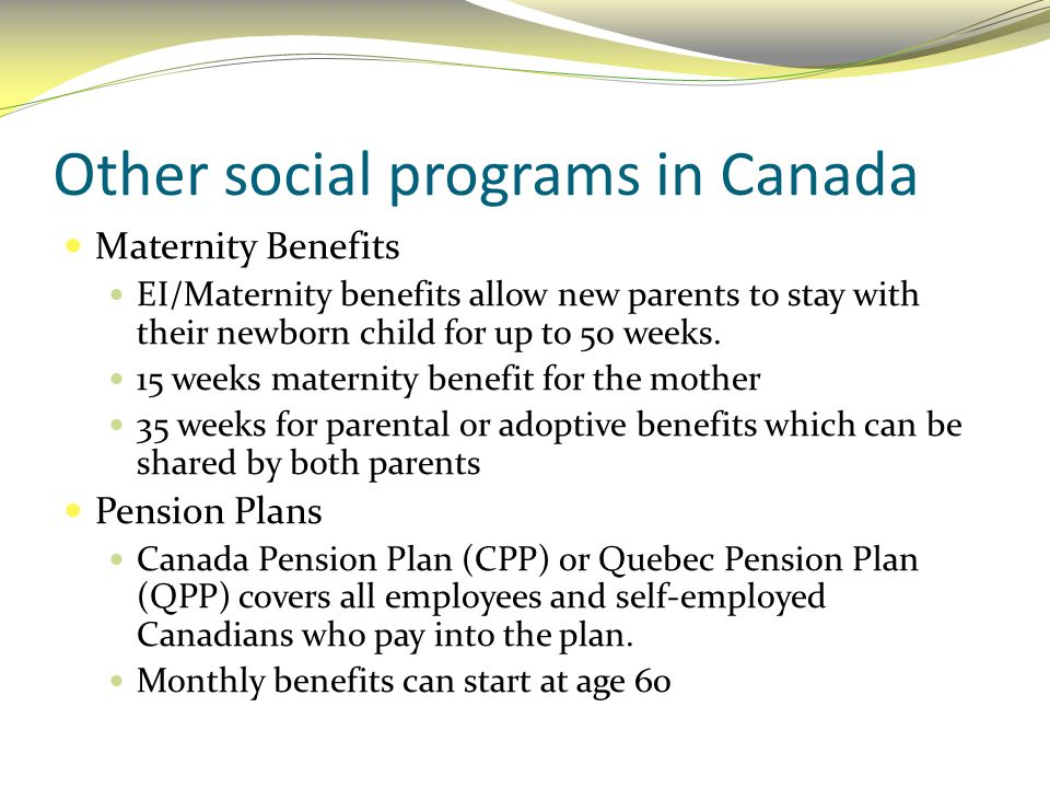 Other social programs in Canada