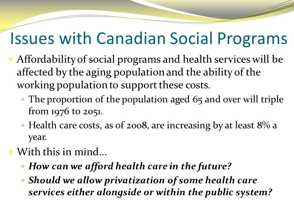 Issues with Canadian Social Programs