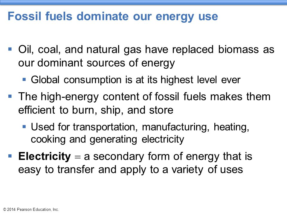 Fossil fuels dominate our energy use