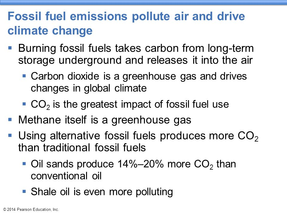 Fossil fuel emissions pollute air and drive climate change